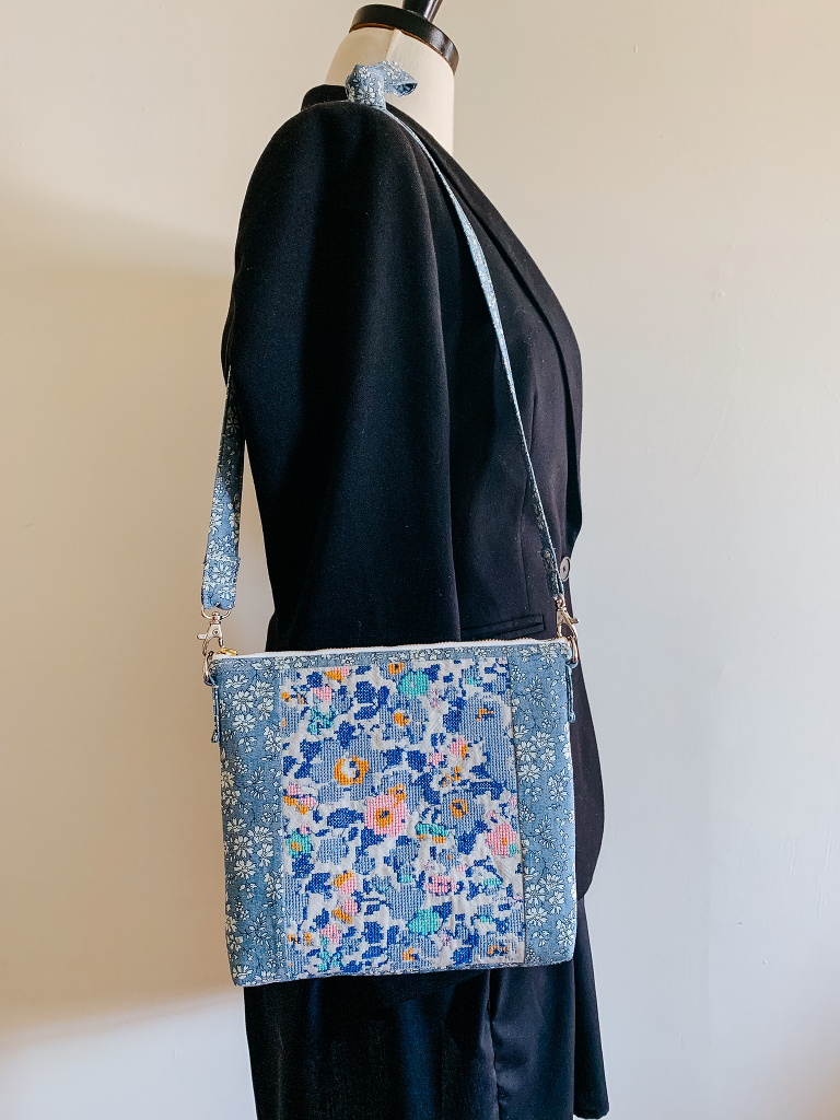 Liberty cross stitched crossbody bag
