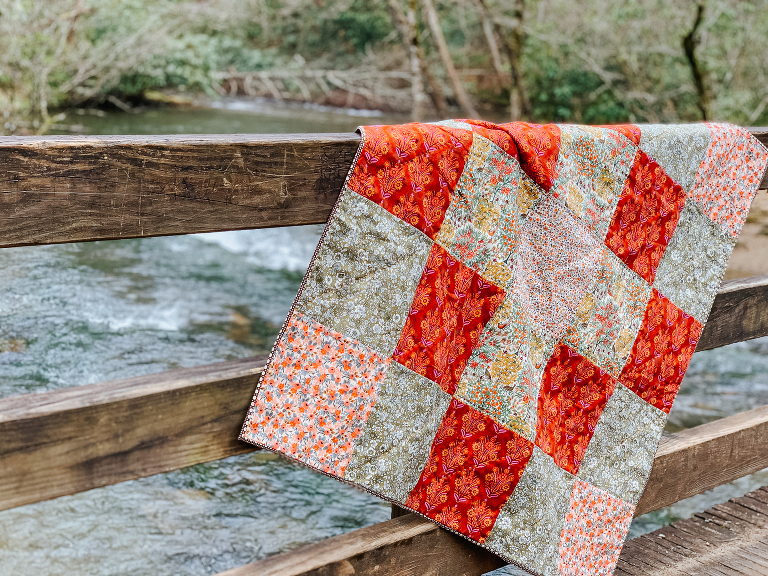 granny square beginner quilt Liberty, Anna Maria Horner, handquilted