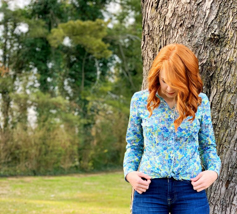 Perfect Shirt in Japanese Liberty by Olivia Jane Handcrafted