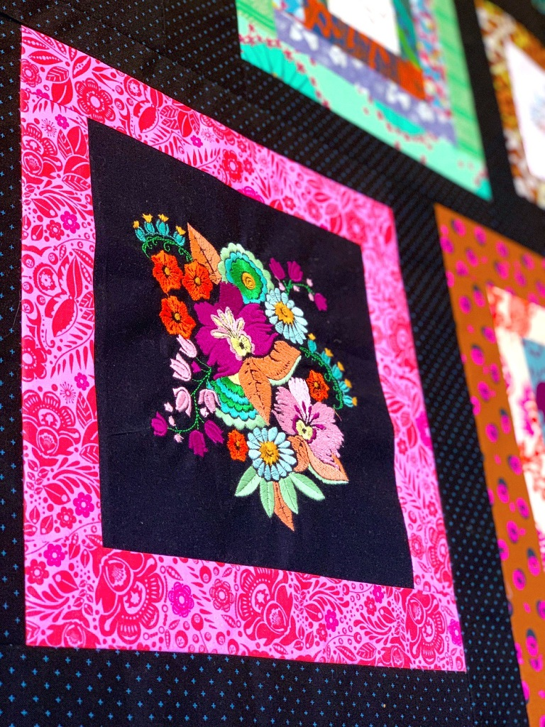Anna Maria Horner embroidered gallery quilt