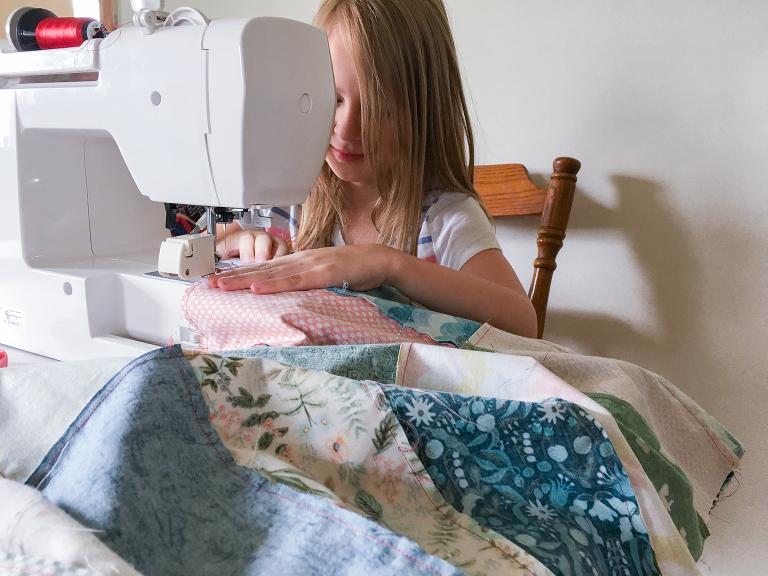 Sewing with Kids: sewing a quilt top
