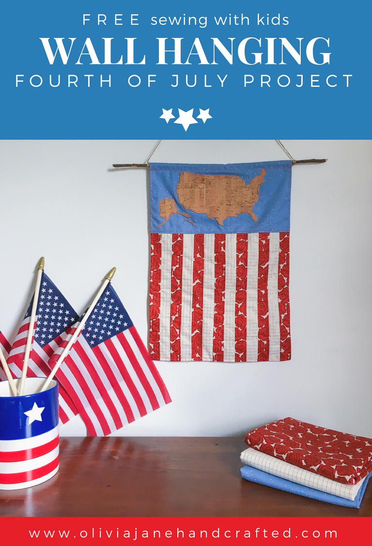 FREE sewing with kids wall hanging fourth of July