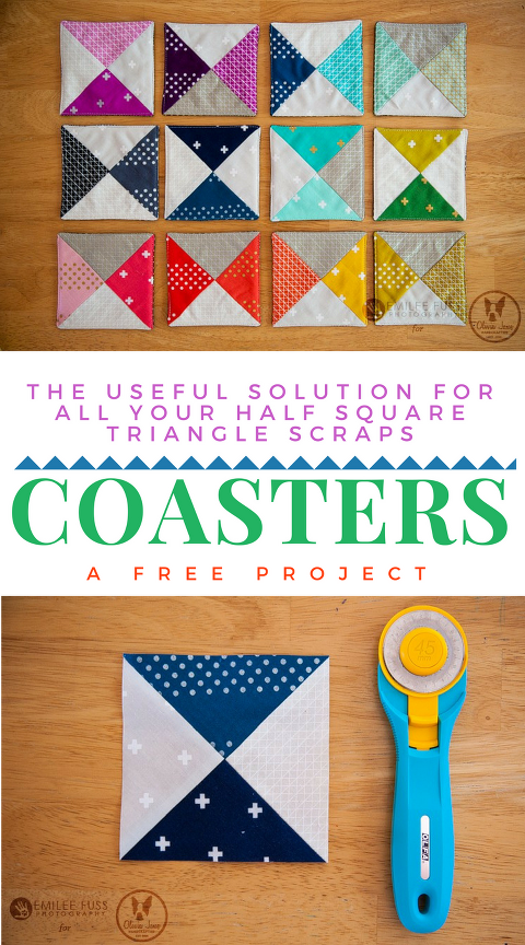 free coaster tutorial with half square triangles and step by step photos