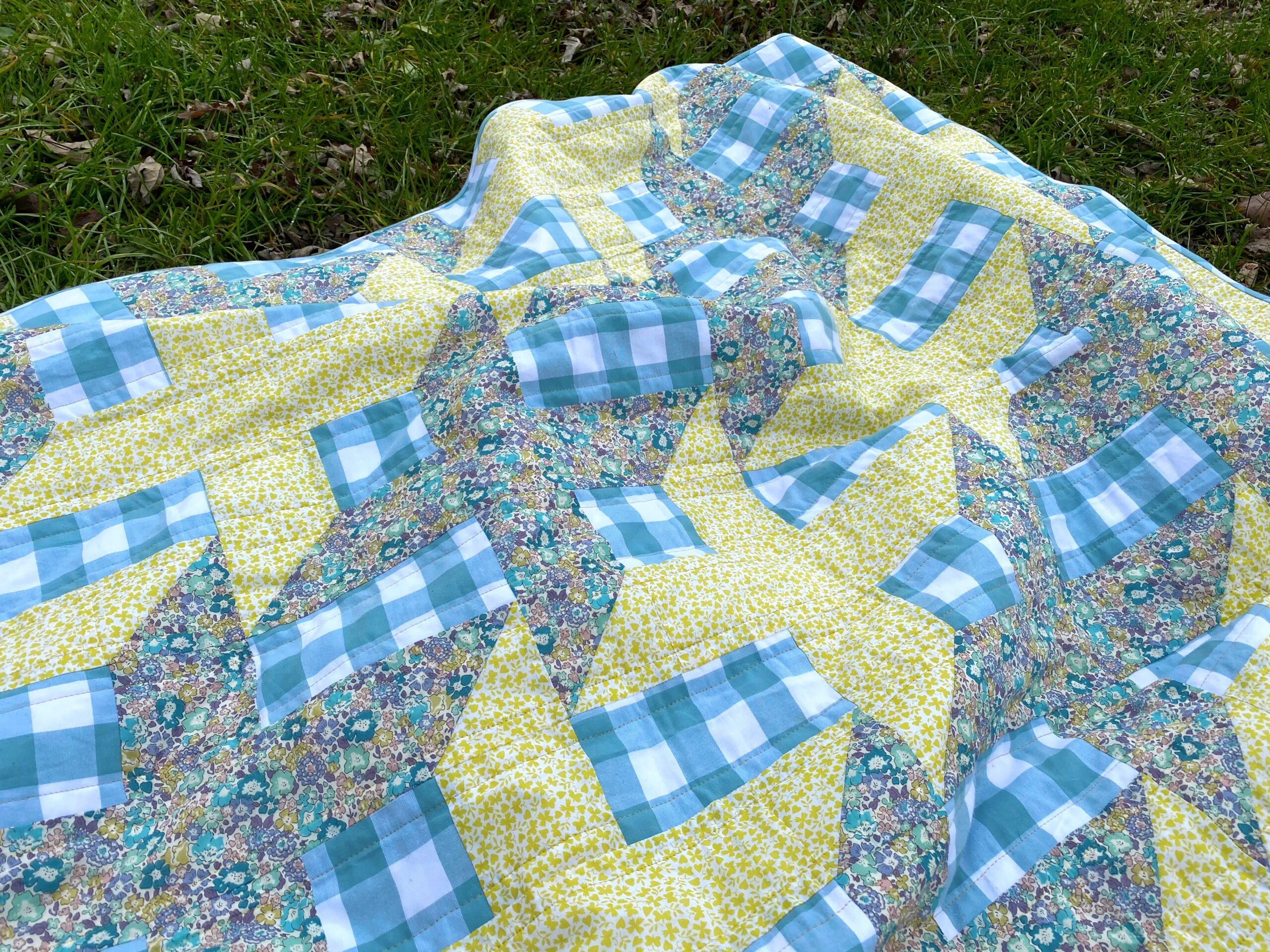 Liberty and gingham Shift quilt by Olivia Jane Handcrafted