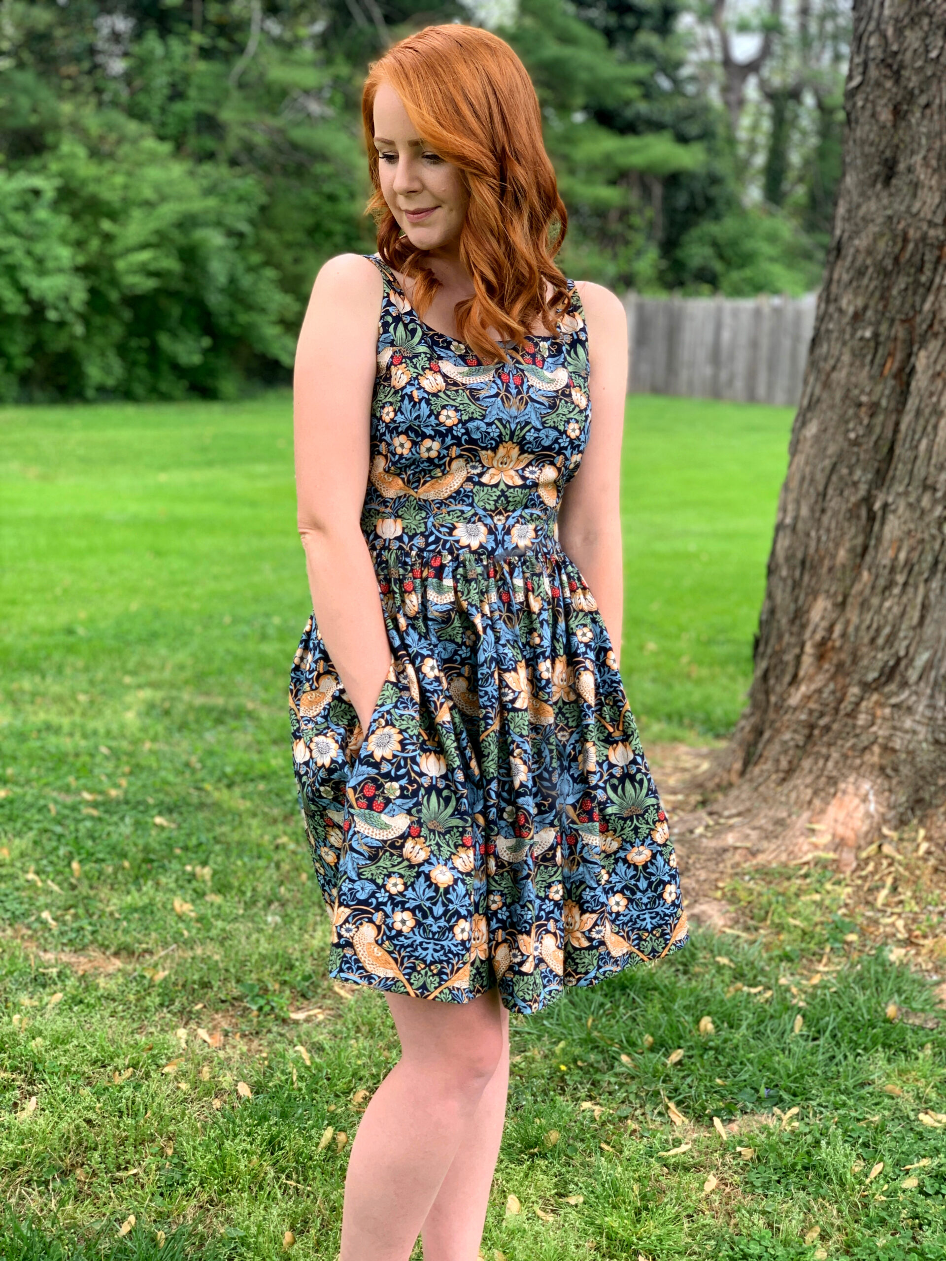 William Morris Strawberry Thief dress by Olivia Jane Handcrafted